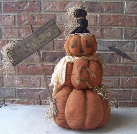 RP358E - Harvest Greeter PDF, Cloth Doll Pumpkin Snowman Pattern