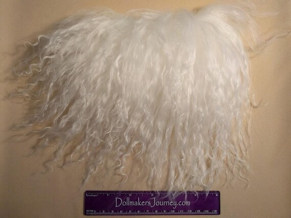 """Tibetan Lamb - Bleach White - 6"""" by  3"""" Piece - Beautiful For Doll Hair/Wig on BJD, Art Dolls and All Dolls. T-120"""