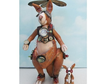 Doll Making Class, Steampunk Kangaroo , Art Doll Project by Susan Barmore (PDF Download) - SE509