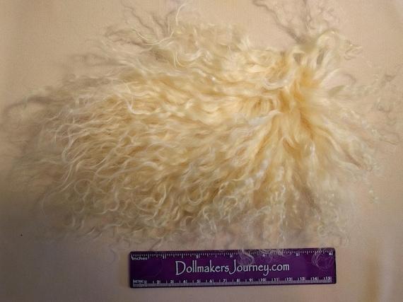 "Tibetan Lamb - Medium Blonde - 6"" by  3"" Piece - Beautiful For Doll Hair/Wig on BJD, Art Dolls and All Dolls. T-88"