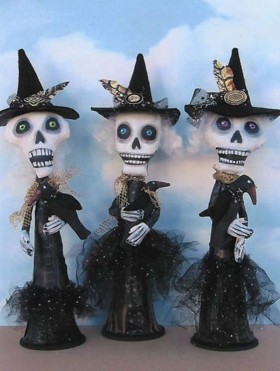 "SE726 - Crow Club,  13""  Fabric Witches Doll Pattern,  Sewing Cloth Doll Pattern - PDF Download by Susan Barmore"