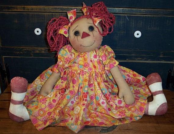 "RP317E - Piggy Tails Penny, 22"" PDF Raggedy Ann Cloth Doll Pattern by Michelle Allen of Raggedy Pants Designs"