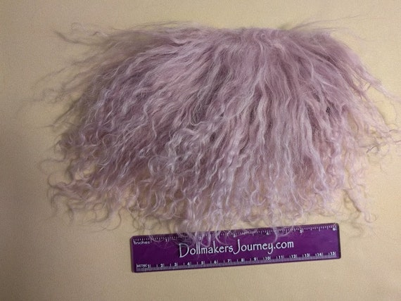 """Tibetan Lamb - Mauve - 5"""" by 2.5"""" Piece - Beautiful For Doll Hair/Wig on BJD, Art Dolls and All Dolls. T-51"""