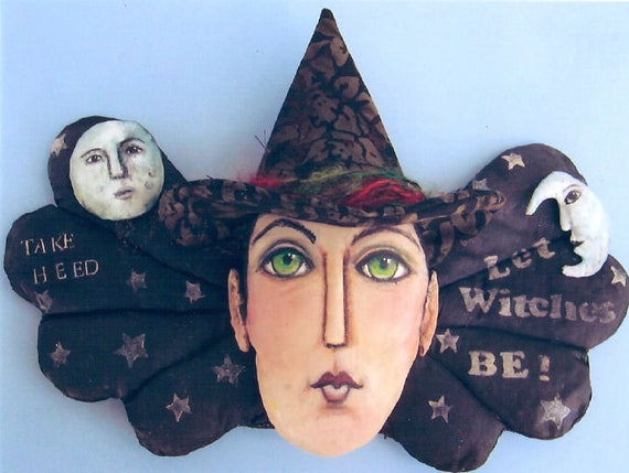 SE716 -Let Witches Be,  Fabric Doll Pattern,  Sewing Cloth Doll Pattern - PDF Download by Susan Barmore