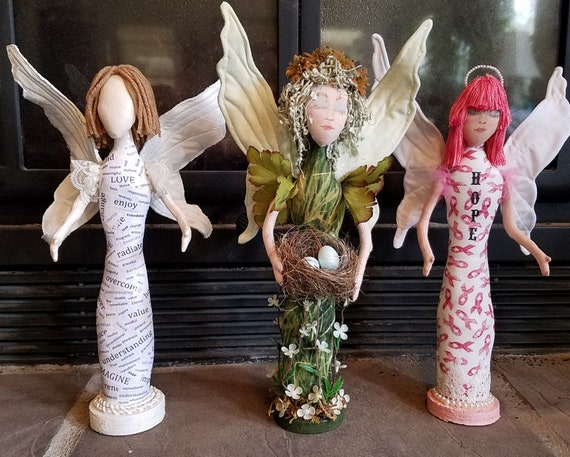 """LR102E - Message Angels, 13"""" Stump Fabric Doll Pattern,  Sewing Cloth Doll Pattern - PDF Download by Jill Weber"""