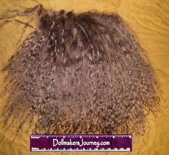 """Tibetan Lamb - Dyed Dark Brown - 4"""" by 4.5"""" Piece - Beautiful For Doll Hair/Wig on BJD, Art Dolls and All Dolls. L-9"""