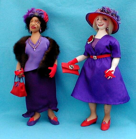 Cloth Doll Pattern - DJ04E - Shirley & Sadie The Red Hat Ladies PDF