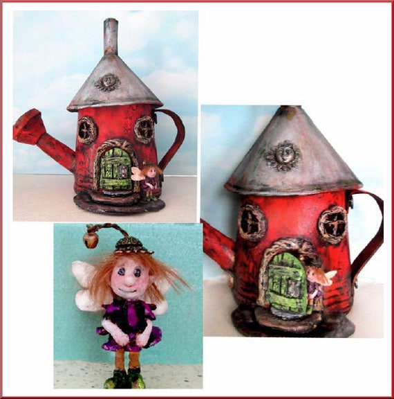 "Doll Making Class - Acme House, a painted fabric, watering can fairy house and 2"" paperclay fairy.  by Susan Barmore (PDF Download) - SE518E"