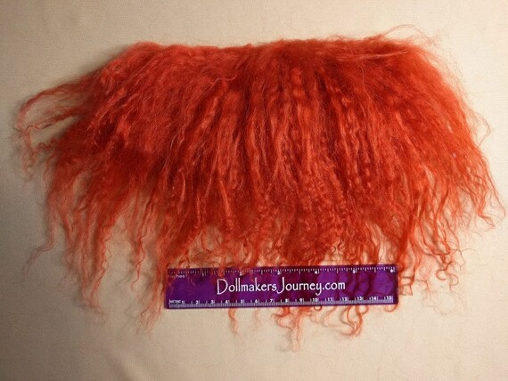 """Tibetan Lamb - Cardinal Red - 6.5"""" by  2"""" Piece - Beautiful For Doll Hair/Wig on BJD, Art Dolls and All Dolls. T-137"""
