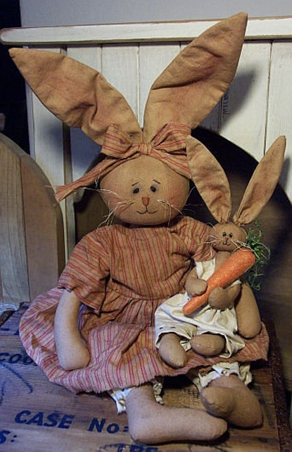 RP323E - Mama & Baby Bunny - Animal PDF Cloth Doll Pattern by Michelle Allen of Raggedy Pants Designs