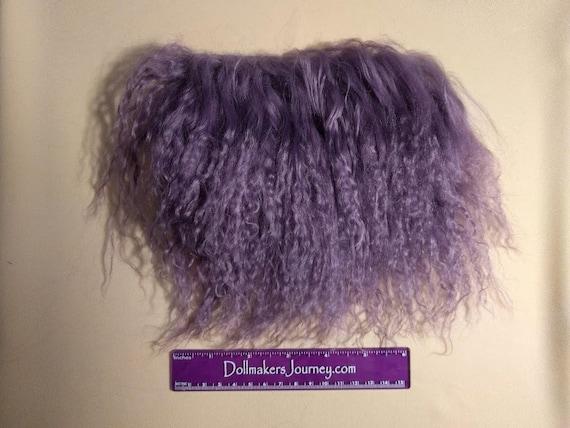 "Tibetan Lamb - Amethyst - 6.5"" by 3.5"" Piece - Beautiful For Doll Hair/Wig on BJD, Art Dolls and All Dolls. T-55"