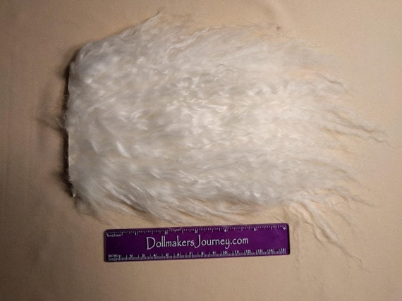 """Tibetan Lamb - Natural White - 6"""" by  4"""" Piece - Beautiful For Doll Hair/Wig on BJD, Art Dolls and All Dolls. T-146"""