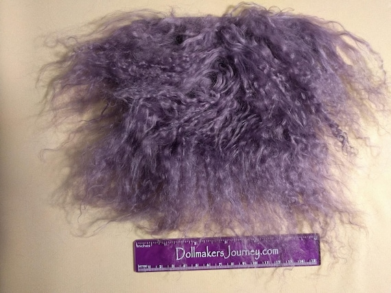 "Tibetan Lamb - Amethyst - 5.25"" by 5"" Piece - Beautiful For Doll Hair/Wig on BJD, Art Dolls and All Dolls. T-58"