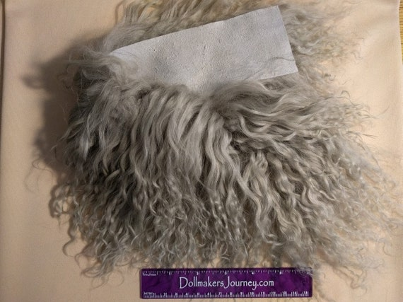 """Tibetan Lamb - Silver - 15"""" by 2.5"""" Piece - Beautiful For Doll Hair/Wig on BJD, Art Dolls and All Dolls. T-72"""