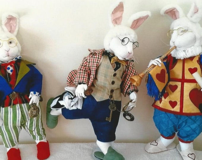 SR839E - The White Rabbit  -  Animal Storybook Cloth Doll Making Sewing Pattern by Suzette Rugolo, PDF Download