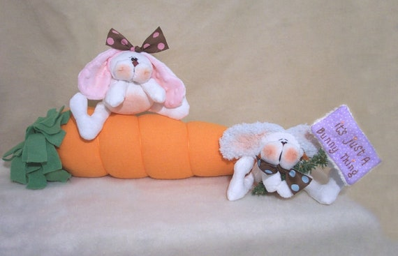 """RP326E - It's A Bunny Thing - 18"""" Carrot and 4"""" Bunnies Sewing PDF Download Cloth Doll Pattern by Michelle Allen of Raggedy Pants Designs"""