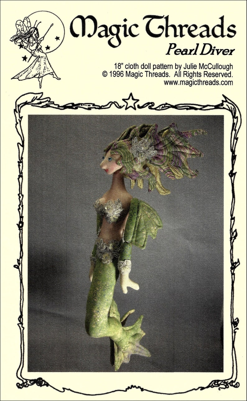 Pearl Diver   19 Mermaid Cloth Doll Sewing Pattern  image 0