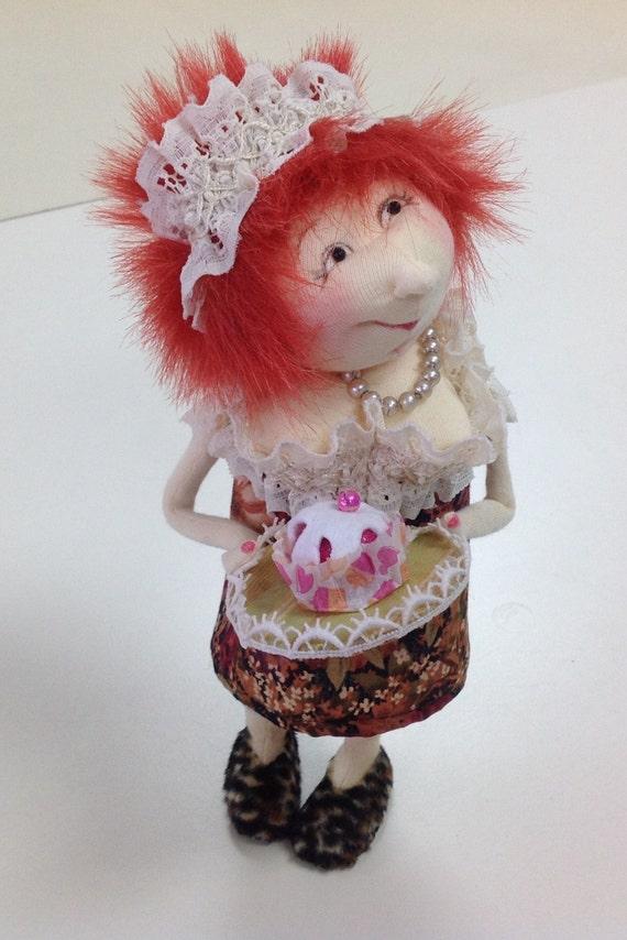 JM949E - Cupcake Cindy, Cloth Art Doll Pattern,  PDF Sewing Pattern by Jill Maas.  Download Today!