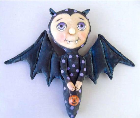 SE418 - Albert The Bat Boy,  Sewing Cloth Doll Pattern - PDF Download by Susan Barmore