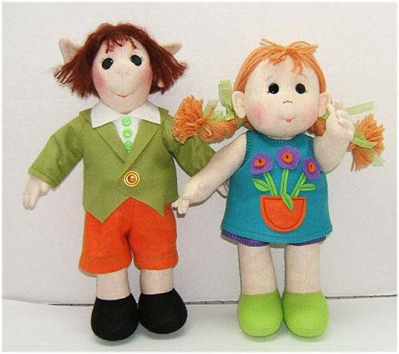 Judi Ward Original Design - Girl and Little Elf ~ Cloth Doll Making E-Pattern  - Download Sewing Pattern