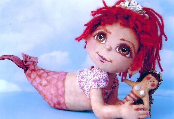 SE802 - Shelly,  Mermaid Fabric Doll Pattern,  Sewing Cloth Doll Pattern - PDF Download by Susan Barmore