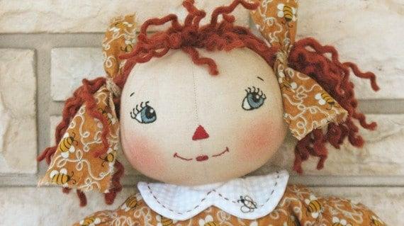 BZ302 - Lil Honey Raggedy Annie PDF Cloth Doll Pattern