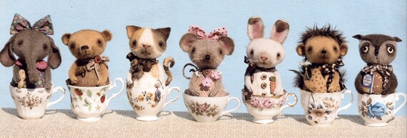 HH395E - Prim Little Critter Cups PDF - Cloth Doll Making Sewing Pattern
