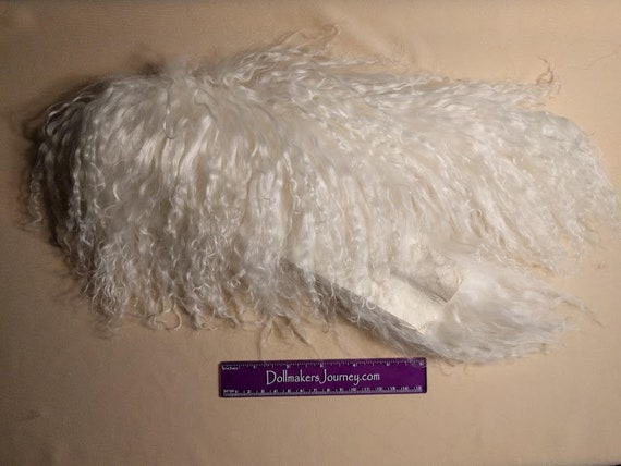 """Tibetan Lamb - Natural White - 23"""" by  2.5"""" Piece - Beautiful For Doll Hair/Wig on BJD, Art Dolls and All Dolls. T-141"""