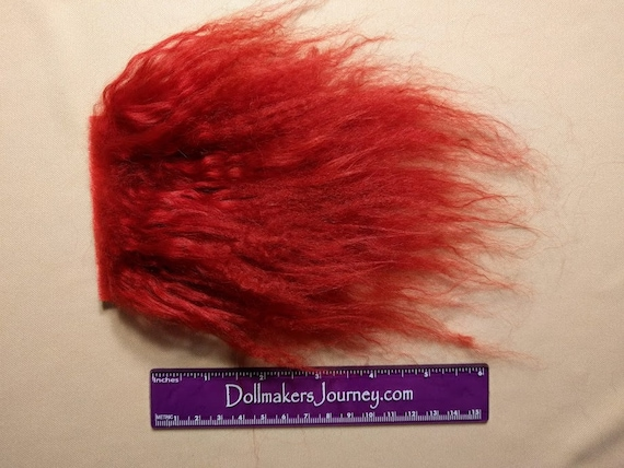 """Tibetan Lamb - Red - 4"""" by  3"""" Piece - Beautiful For Doll Hair/Wig on BJD, Art Dolls and All Dolls. T-156"""