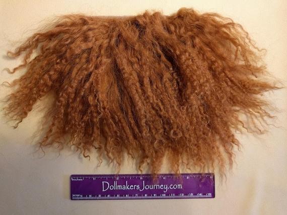"""Tibetan Lamb - Dark Auburn - 4.75"""" by  3"""" Piece - Beautiful For Doll Hair/Wig on BJD, Art Dolls and All Dolls. T-90"""