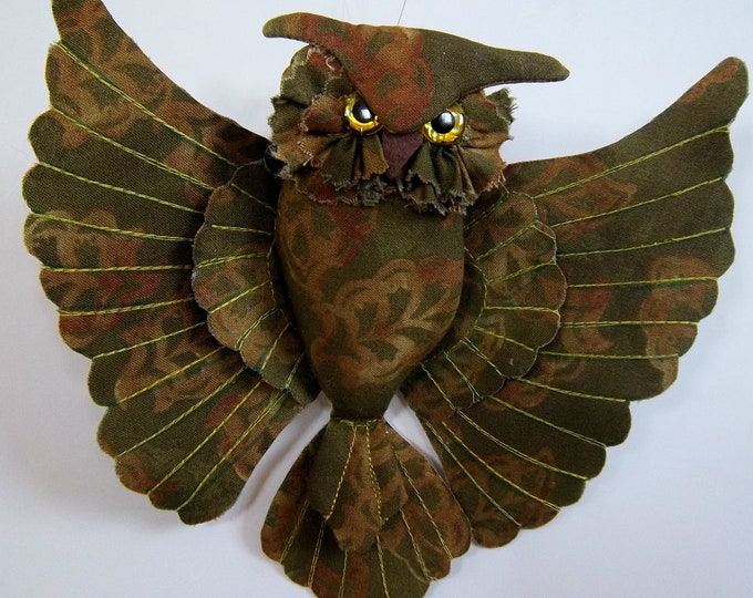"""LL519E - 7"""" Flying Owl  Cloth Bird Doll Pattern - PDF Download Doll Making Sewing Pattern by Laura Lunsford"""