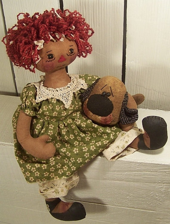 "RP336E - Puppy Love PDF Download 16"" Raggedy Doll Sewing Pattern"