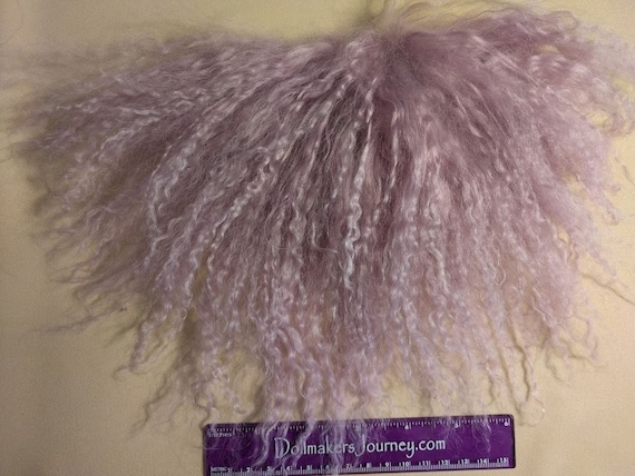 """Tibetan Lamb - Mauve - 5.5"""" by 2.5"""" Piece - Beautiful For Doll Hair/Wig on BJD, Art Dolls and All Dolls. T-47"""