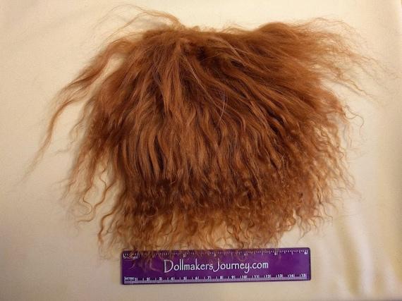 """Tibetan Lamb - Dark Auburn - 4.25"""" by  3.5"""" Piece - Beautiful For Doll Hair/Wig on BJD, Art Dolls and All Dolls. T-92"""