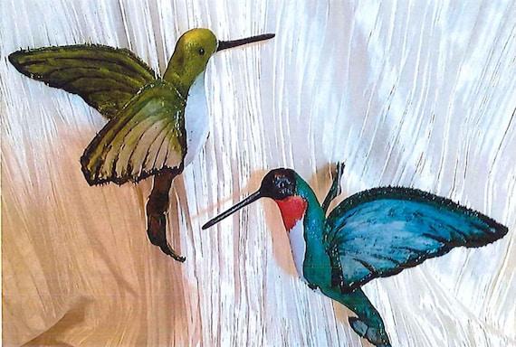 "LR107E - Hummingbirds, 7 1/2"" Painted Bird Fabric Doll Pattern,  Sewing Cloth Doll Pattern - PDF Download by Jill Weber"