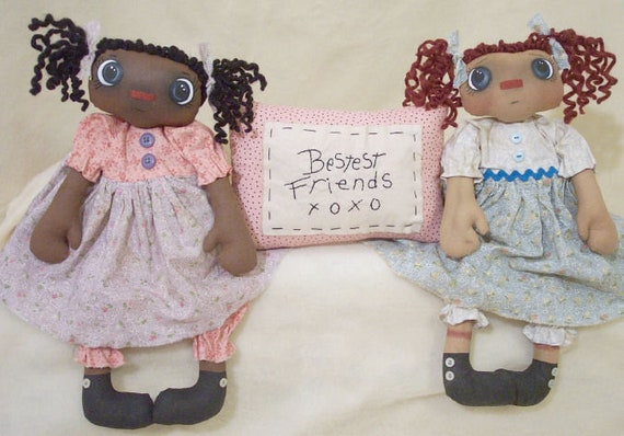 RP325E - Bestest Friends XoXo,  PDF Download Raggedy Ann Cloth Doll Pattern by Michelle Allen of Raggedy Pants Designs