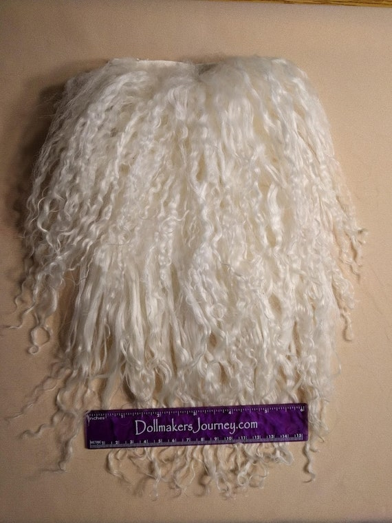 """Tibetan Lamb - Natural White - 6"""" by  4"""" Piece - Beautiful For Doll Hair/Wig on BJD, Art Dolls and All Dolls. T-139"""