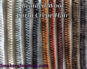 Braided Wool - Curly Crepe Hair - Perfect for Doll Hair or Professional makeup artists for beards, moustaches, sideburns and brows.