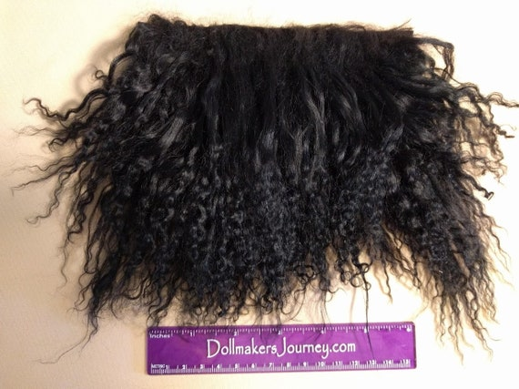 "Tibetan Lamb - Black - 3.75"" by 3"" Piece - Beautiful For Doll Hair/Wig on BJD, Art Dolls and All Dolls. T-79"