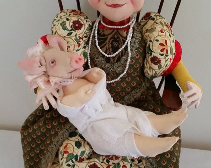 SR841E - The Duchess and Her Baby Pig -  Storybook Cloth Doll and Pig Making Sewing Pattern by Suzette Rugolo, PDF Download