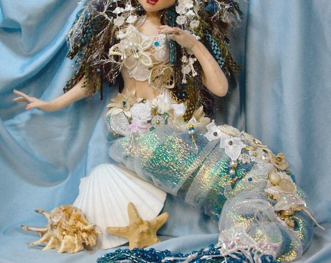 "JS421E - Angel Fish the Mermaid Bride -  PDF Cloth Doll Making Sewing 18"" Mermaid Pattern"