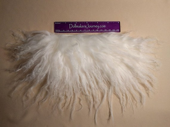 """Tibetan Lamb - Natural White - 7.25"""" by  3"""" Piece - Beautiful For Doll Hair/Wig on BJD, Art Dolls and All Dolls. T-152"""