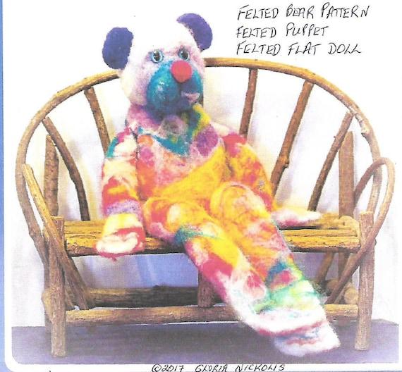 KK771E – Blue Eared Bear & Friends - Felting  Doll Making  Pattern, PDF Download