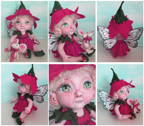 "Doll Making Class Poinsettia 11"" Fairy doll with toy Mouse, Art Doll Project by Susan Barmore (PDF Download) - SE517E"
