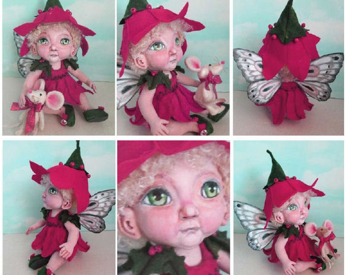 """Doll Making Class Poinsettia 11"""" Fairy doll with toy Mouse, Art Doll Project by Susan Barmore (PDF Download) - SE517E"""