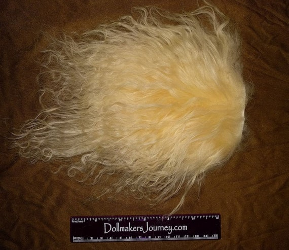 "Tibetan Lamb - Medium Blonde - 3.25"" by 4.75"" Piece - Beautiful For Doll Hair/Wig on BJD, Art Dolls and All Dolls. L-14"