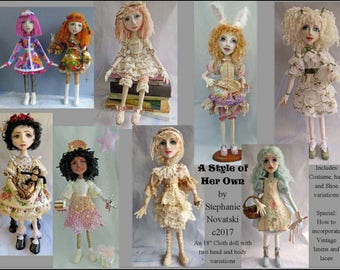 """SI418E - A Style of Her Own - 18"""" Cloth Doll Sewing Tutorial/Pattern - PDF"""
