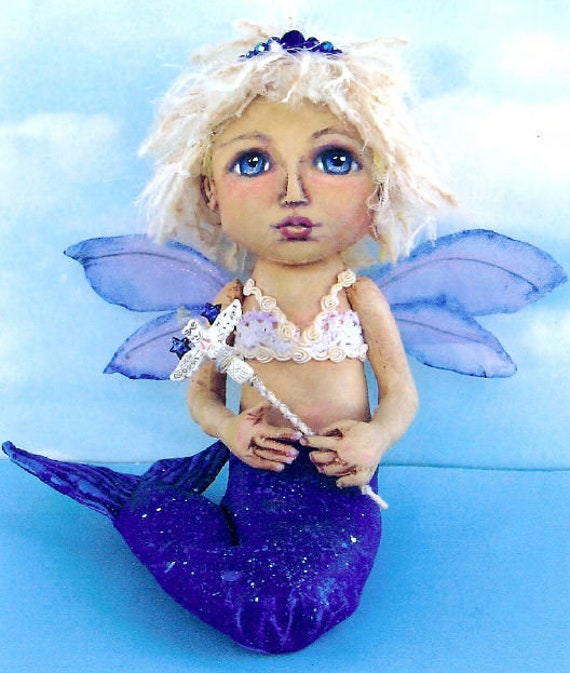 "SE795 - Mermaid Fairy, 8""  Fabric Doll Pattern,  Sewing Cloth Doll Pattern - PDF Download by Susan Barmore"