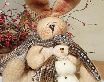 RP195E - A Friend to Keep Me Warm, Bunny and Snowman Doll Pattern by Michelle Allen of Raggedy Pants Designs - PDF Download