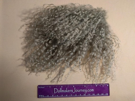 """Tibetan Lamb - Silver - 3.75"""" by 2.75"""" Piece - Beautiful For Doll Hair/Wig on BJD, Art Dolls and All Dolls. T-75"""